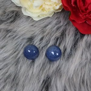 Vintage Speckled Blue Button Earrings